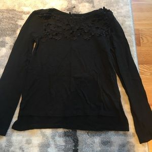 Beautiful Black Flowered Long Sleeve Size 8/10